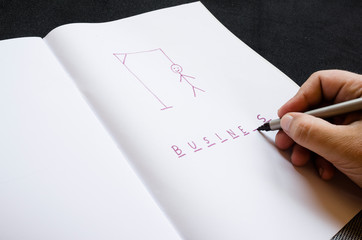 hangman traditional game. hand with marker, highlighter writes word business