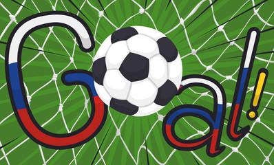 Goal Scoring in the Net during International Soccer Championship, Vector Illustration
