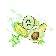 Watercolor kiwi and avocado.