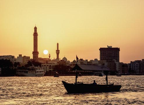 Abra Boat on Dubai Creek at sunset, Dubai