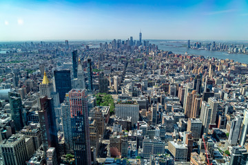 aerial new york manhattan cityscape