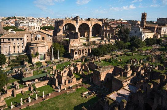 Ancient Rome city skyline from Palatine Hill, Rome, Lazio