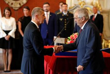 Czech President Milos Zeman appoints Andrej Babis as the country's Prime Minister at Prague Castle in Prague