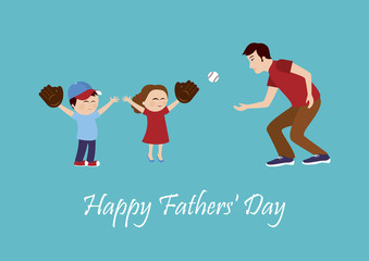 Daddy with children vector illustration. Happy Father's Day vector. Fathers Day illustration. Father with son and daughter. Father and children cartoon character. Kids playing baseball with dad