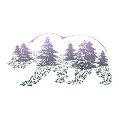 Vector Double exposure, bear for your design, wildlife concept