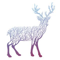 Vector Double exposure, deer for your design, wildlife concept