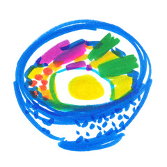 A bowl of traditional Asian soup painted in highlighter felt tip pen on clean white background