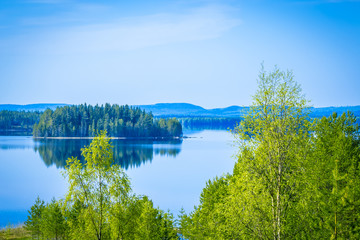 Early summer lake view from Sotkamo, Finland.