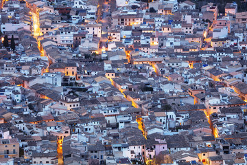 Aerial view of old town, Pollenca, Majorca, Balearic Islands, Spain, Mediterranean, Europe
