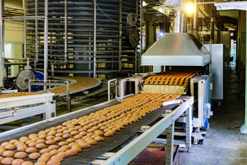 Confectionery factory. Production line of baking cookies. Selective focus