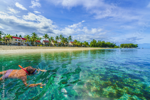 Wall mural Snorkeling on the Mauritius island, Africa. Flick and flac beach, Tamarin Bay