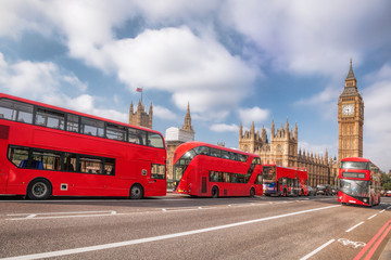 Garden Poster London red bus London symbols with BIG BEN, DOUBLE DECKER BUS and Red Phone Booths in England, UK