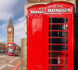 Acrylic Prints London red bus London symbols with BIG BEN, DOUBLE DECKER BUS and Red Phone Booths in England, UK