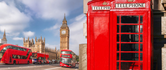 Canvas Prints London red bus London symbols with BIG BEN, DOUBLE DECKER BUS and Red Phone Booths in England, UK
