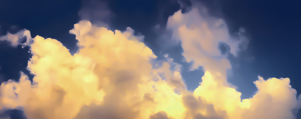 Artistic atmosphere panorama view of twilight  golden clouds and blue sky on summer evening time.