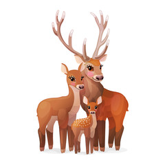vector red deer family. Doe mom, baby fawn, stag dad