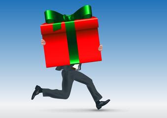 cadeau - offrir - anniversaire - noël - paquet cadeau - concept - homme d'affaires - réussite - succès