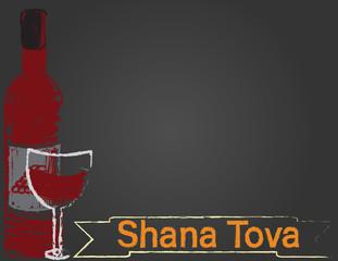 Rosh hashanah blackboard greeting card. Shana tova banner, wine bottle and glass on black background