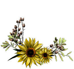 wreath in the form of a bouquet of two sunflower leaves and dry grass, sketch vector graphics color illustration