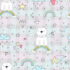 Hand drawn seamless pattern with cute cat on a rainbow, doodle illustration for kids vector print
