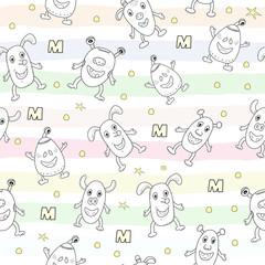 Cute monsters cartoon style. vector pattern