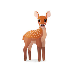 vector spotty fawn, baby red deer, young little bambi 04