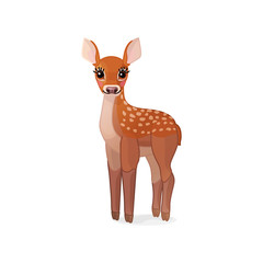 vector spotty fawn, baby red deer, young little bambi 05