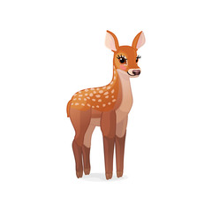 vector spotty fawn, baby red deer, young little bambi 06