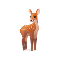vector spotty fawn, baby red deer, young little bambi 07