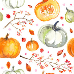 Pattern Pumpkins painted with watercolors on white background