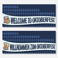 Vector banners for Oktoberfest with copy space, invite with bavarian pretzel, glassware with alcoholic beverages, tickets for german beer festival with original typeface for words on oktoberfest theme