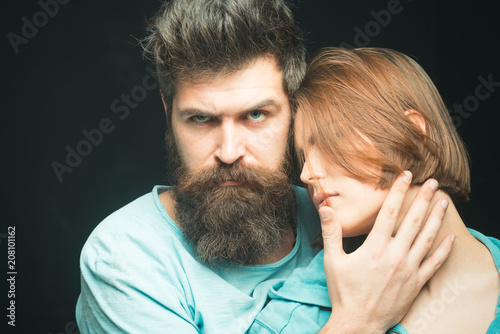 Fashion Shot Of Couple After Haircut Hairstyle Concept Woman On