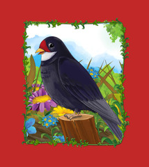 Foto op Canvas Rood traf. cartoon scene with beautiful cuckoo bird sitting on the meadow - illustration for children