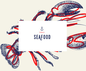 Seafood banner set. Hand drawn lobster. Vector restaurant menu. Marine food banner, flyer design. Engraved isolated art. Delicious cuisine objects. Use for promotion, market, store banner.