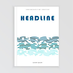 Vector design with waves, graphic template. Leaflet, cover, page.