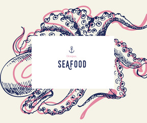 Seafood banner set. Hand drawn octopus. Vector restaurant menu. Marine food banner, flyer design. Engraved isolated art. Delicious cuisine objects. Use for promotion, market, store banner.