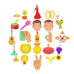 Treat icons set. Cartoon set of 25 treat vector icons for web isolated on white background