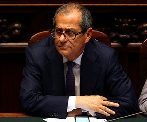 Italian Economy Minister Giovanni Tria attends during his first session at the Lower House of the Parliament in Rome