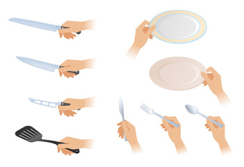 Flat isometric illustration of hands with different cutlery set. The female hands holding the knives, spoons, forks, frying spatula, plates, dishes. Utencils and cooking meal vector element set.