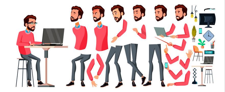 Office Worker Vector. Face Emotions, Various Gestures. Animation Creation Set. Businessman Worker. Happy Job. Partner, Clerk, Servant, Employee. Isolated Flat Cartoon Illustration