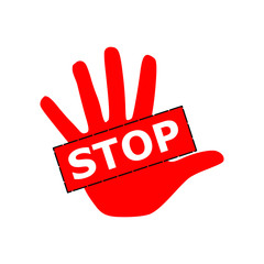 Red hand palm sign with word stop illustration vector
