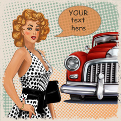 Vintage background with pin-up girl and retro car