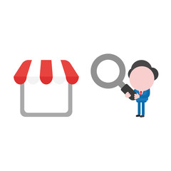 Vector businessman character looking magnifying glass to shop store