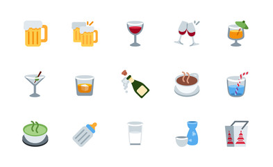 All drinks, beverages icons, symbols set. Beer, wine, cocktail, milk, tea, champagne vector illustration flat style emojis, emoticons