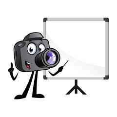Cartoon camera mascot with a white board.