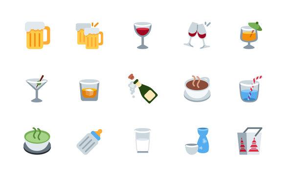 All drinks, beverages icons, symbols set. Beer, wine, cocktail, milk, tea, champagne vector illustration flat style emojis, emoticons