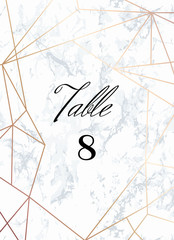 Wedding template. Seating Card. Tented Table Numbers card. White marble background and rose gold geometric pattern. Dimensions 5x7 inch plus 0,25 bleed. Seamless pattern included in palette.