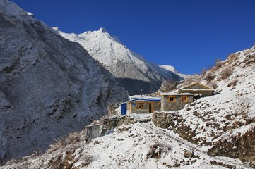 Small hotels in the Langtang valley, Nepal. Clear spring morning after new snowfall.