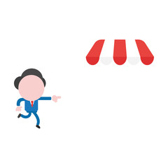 Vector businessman character pointing and running to shop store awning