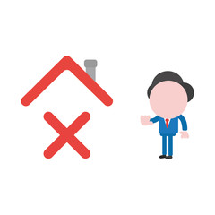 Vector businessman character giving hand stop sign to x mark under house roof